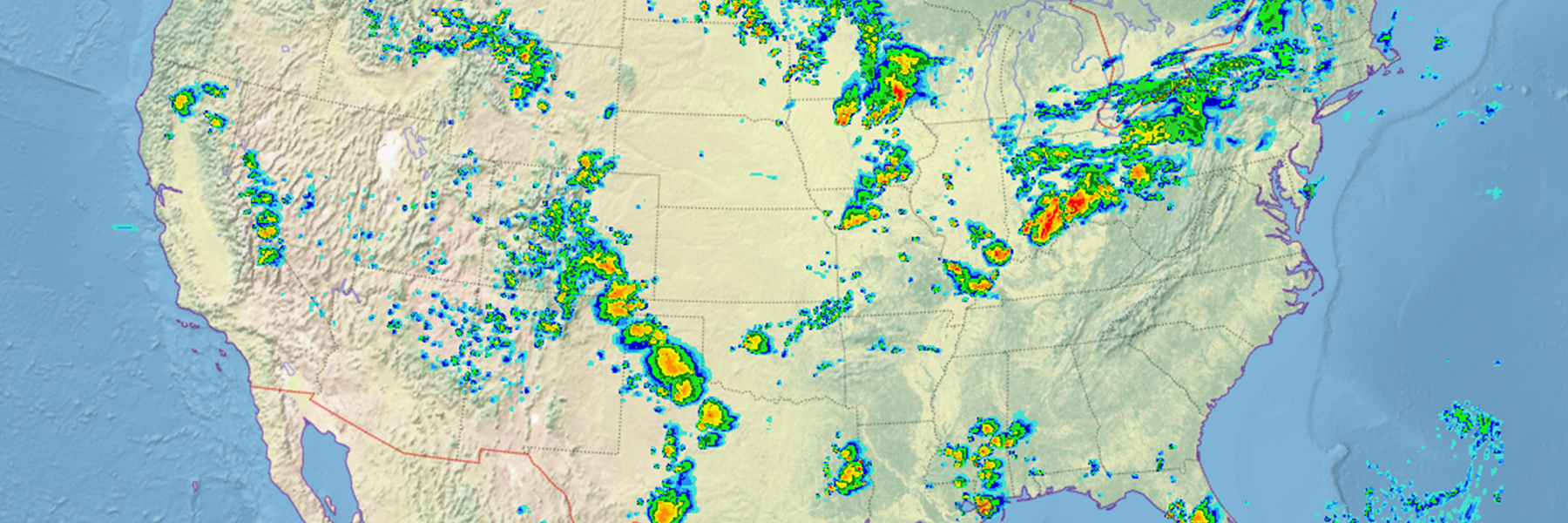 US map with simulated composite radar reflectivity
